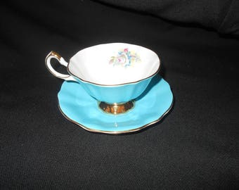 Stunning Queen Anne Blue Tea Cup and Saucer
