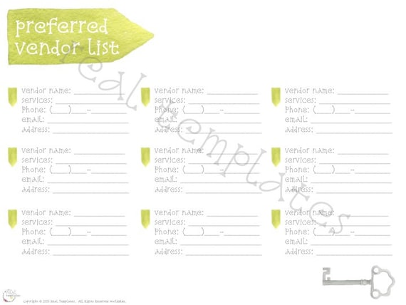 approved vendors list template