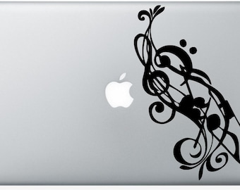 Music Notes laptop DECAL- macbook iPad computer- vinyl sticker