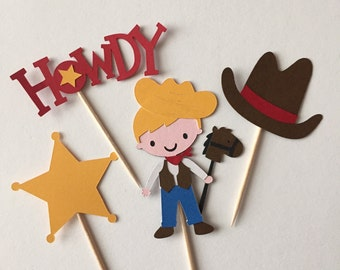 Set of 12 cowboy cupcake toppers, cowboy birthday party