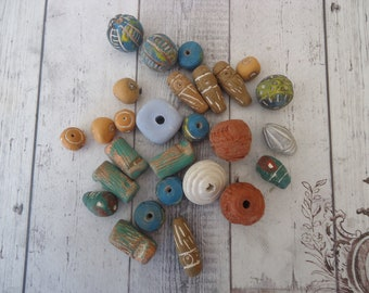 Mixed Lot of Vintage Rustic Handmade Clay Beads, 5 Oz, Jewelry Component, Beading Supply, Altered Art Supply