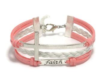 Faith Bracelet, Cross Bracelet, Christian Bracelet, Catholic Bracelet, Christian Gift, Sideways Cross, Jesus Love, Religious Bracelet, Gift