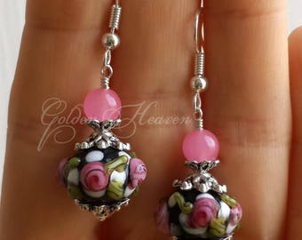 Flowers glass earrings Pink rose earrings Pink black earrings flowers lampwork earrings 925 sterling silver hooks Jade gemstone earring