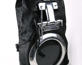 Hi Tek Alexandr Unisex industrial Gothic neo Steamapunk handmade leather futuristic biker bag vintage metal black pack