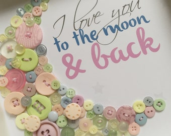 I Love You to the Moon and Back picture frame in pastel buttons