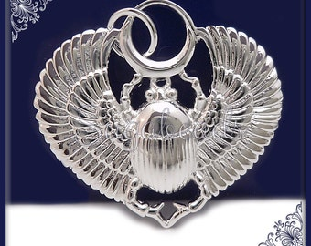1 Silver Plated Egyptian Scarab, Silver over Bronze Winged Scarab, Egyptian Beetle 23mm ND16