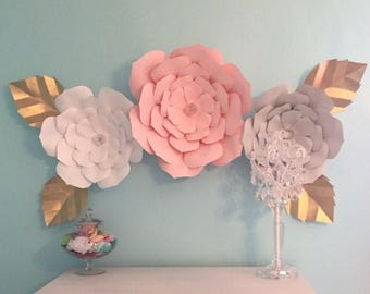 Paper Flowers- Paper Flower Backdrop- Nursery Decor- Customize your Order!!!!!