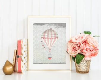 Hot Air Balloon Nursery Printable Art Print, 5x7, 8x10, Blush Pink and Gray, Distressed Pink Nursery Print, Shabby, Cottage Chic, Download