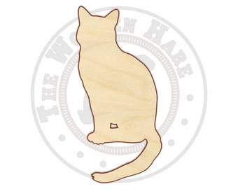 Sitting Cat Wood Cut Out - 160108 - Unfinished wood, Various sizes, Cutout Sign Wood Craft Shapes