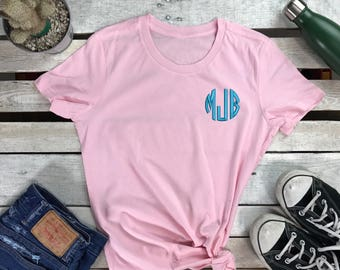 MONOGRAMMED Ladies Embroidered Tee Personalized Cropped Tshirt, Monogram Shirt, Women's Personalized T-shirt