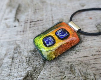 Multicoloured dichroic glass necklace