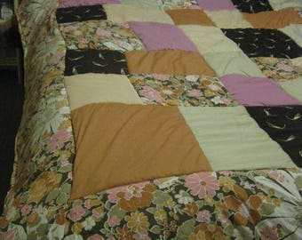 Handmade Patchwork Double Quilt, Retro Style, M&S floral Cotton and Poly-Cotton,