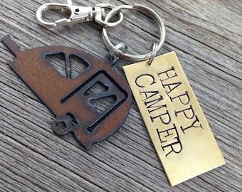 HAPPY CAMPER Key Ring ~ Teardrop Travel Trailer Keychain ~ Key Chain