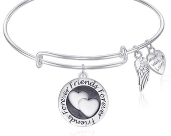 FOREVER FRIENDS Expandable Wire Bangle Bracelet  Gift Boxed