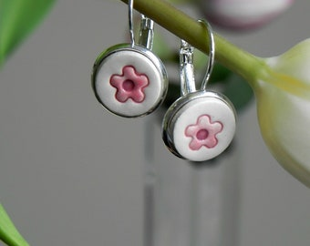 Porcelain Flower Dangle Earrings, Romantic Round Earrings, Pink Floral Ceramic Jewelry in a Silver Color Base
