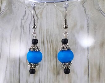 Beaded Earrings | Blue Earrings | Black Earrings | Silver Earrings | Blue Bead Earrings | Gift for Her Under 25 Dollars | Gift for Mom