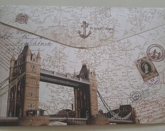 envelop London vintage retro 33.5 x 23 cm