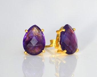 Purple Amethyst Stud Earrings, February Birthstone Earrings, Gemstone Studs, Tear drop Studs, Gold Stud Earrings, Prong Set Post Earring
