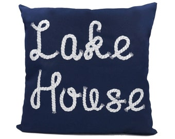 "New Fabric - Lake House - Nautical Embroidered Pillow Cover - Fits 18""x18"" Insert - Navy - Beach / Lake / Nursery Decor (READY TO SHIP)"