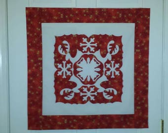 Quilt Top, Appliqué Design, Reindeer and Snowflakes Appliqué Wall Hanging Top, Arrives Ready to Quilt, Gold Accents
