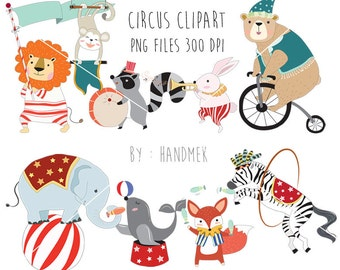 Circus Animals clipart , cute circus PNG file-300 dpi