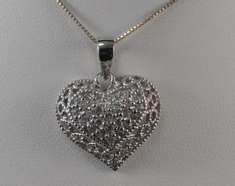 Lovely Heart Necklace with Sparkles