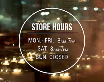 Custom store hours decals, Personalized store hours decals, Store hours Decals, Store hours stickers, Business hours decals, Hours decals