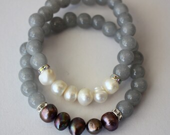 Beaded Stretch Bracelet Grey Glass Beads, Freshwater Pearls, Natural Stones, Handmade, Fortina Designs