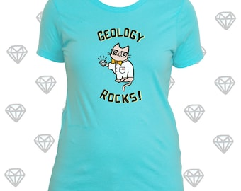 Geology Shirt Science Shirt Women Geology Rocks Shirt for Women Gifts for Her Science Cat Nerdy Girl Shirt Cute Cat Stuff