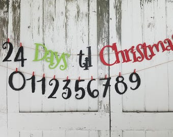 Days til Christmas Banner, Advent Banner, Days til Christmas sign, Countdown Christmas Banner, Advent Calendar, Christmas Decoroation