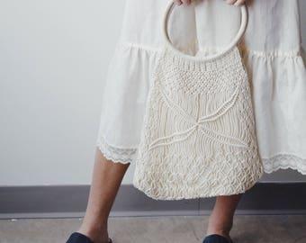 MILDA BAG   vintage crochet purse   woven purse   crochet bag   vintage handbag   macrame purse   Able Shoppe