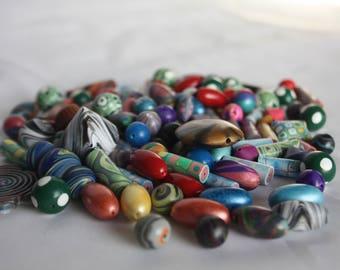 Destash CLEARANCE Handmade Polymer Clay Beads- 1/4 lb. Lot