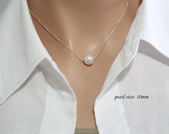 CUSTOM COLORS 10mm Swarovski White Pearl Necklace, Bridesmaid Necklace, Sterling Silver Necklace, Single Pearl Necklace, Bridesmaid Gift