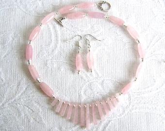 Rose Quartz Fan Necklace and Earrings