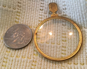 ORIGINAL Vintage Optical Lens STEAMPUNK Mixed Media Jewelry Craft Brass Necklace Antique Monocle Varying Thickness