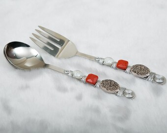Salad Serving Set,Silver Red White Wire Wrapped Beaded Salad Server,Serving Utensils, Hostess Gift,Birthday,Housewarming,Wedding Birthday