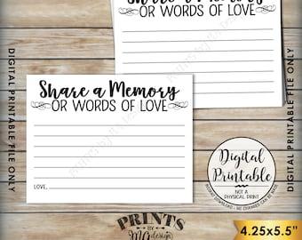 "Share a Memory Card, Share Memories, Write a Memory, Please Leave a Memory, Memorial Card, Graduation, PRINTABLE 8.5x11"" Sheet <ID>"
