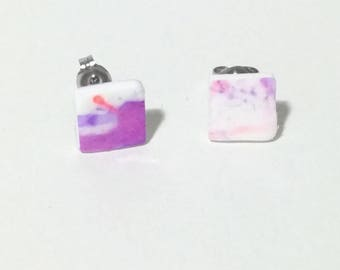 Pink and purple watercolour square polymer clay earrings