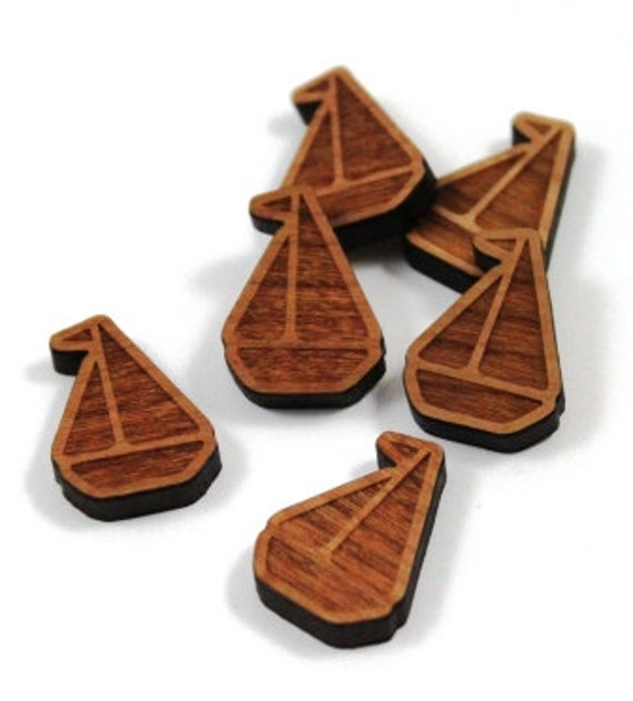Laser Cut Supplies-8 Pieces.Sailing Boat Charms - Laser Cut Wood Boat -Earring Supplies- Little Laser Lab Sustainable Wood Products