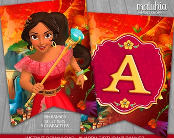 Elena of Avalor Birthday Banner - INSTANT DOWNLOAD - Disney Princess Elena Digital Printable - Elena of Avalor Happy Birthday Pennant