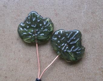 Lampwork Headpins - Glass Headpins - Leaf Glass Headpins - Copper wire - Glass Headpins Pair - SueBeads - Headpins - Glass Heapins - Leaves