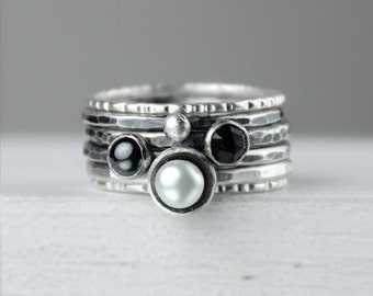 Silver Stacking Rings with Freshwater Pearl, Hematite and Black Spinel, Ombre Gemstones, Stackable Rings