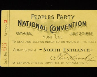 Rare 1892 Peoples Party National Convention Ticket Populist James B Weaver