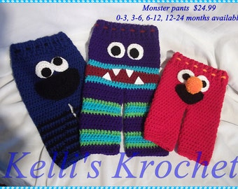 Crochet Monster Pants, Baby Pants, Kids Pants, Baby Costume Pants, Leggings