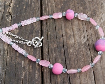Tickled Pink Polymer Clay, Jade and Czech Glass Necklace