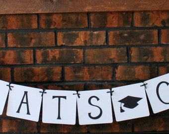 Custom Graduation Banner, Congrats Grad, Custom Name, Graduation 2015, High School, College, Party Decor, Garland, Sign