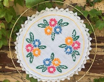 "Embroidered Vintage Doily Mandala Suncatcher 14"""