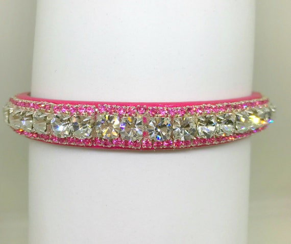 Cutie Pie Pets Collars™ ~ Pink Diamond Bling ~ Crystal Diamante Rhinestone PU Leather Dog Cat SAFETY Collar USA!