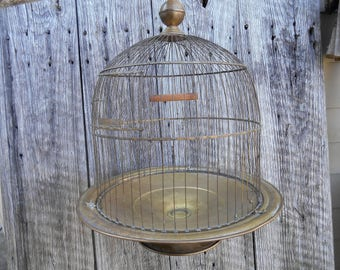 Antique Brass Bird Cage Hendryx Wedding Decor Shabby Rounded Dome Top Pedestal Base with Perch Swing Photo Prop