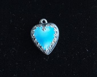 Puffy Heart Charm Sterling Silver Blue Enamel Vintage Pendant